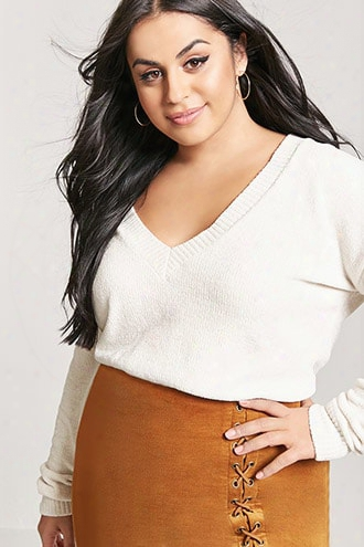 Plus Size Chenille Knit V-neck Sweater
