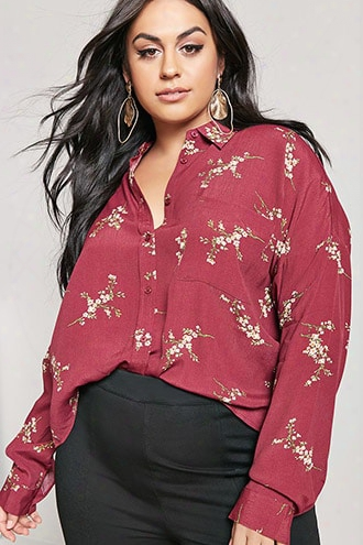Plus Size Floral High-low Shirt