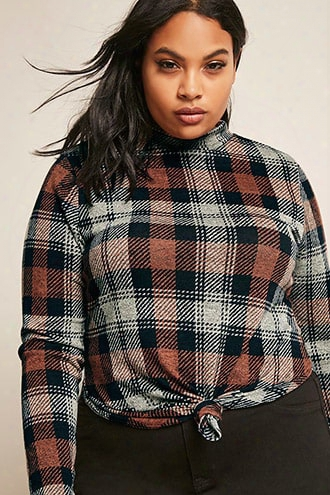 Plus Size Knotted Plaid Knit Top