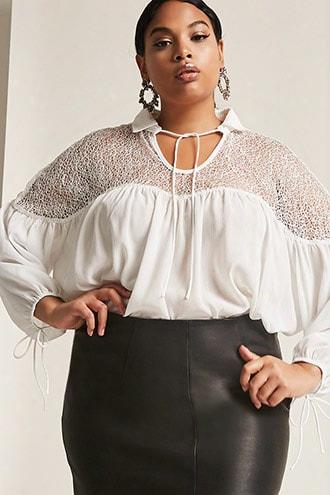 Plus Size Lace-trimm Peasant Top