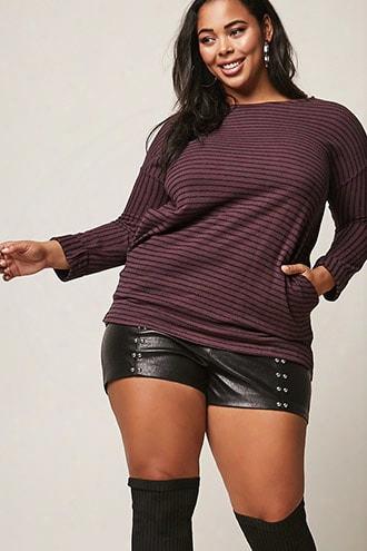 Plus Size Longline Stripe Top