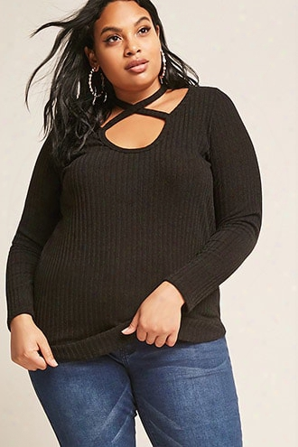 Plus Size Marled Ribbed Crisscross Top