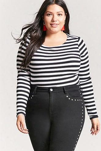 Plus Size Stripe Crop Top