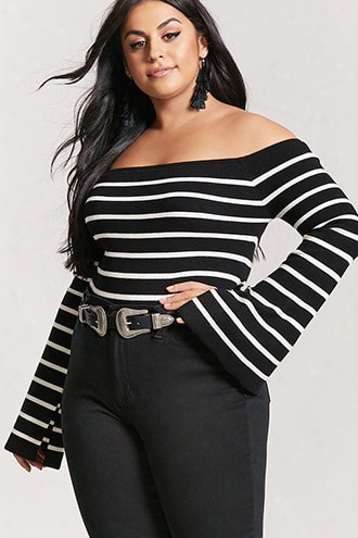 Plus Size Stripe Off-the-shoulder Sweater