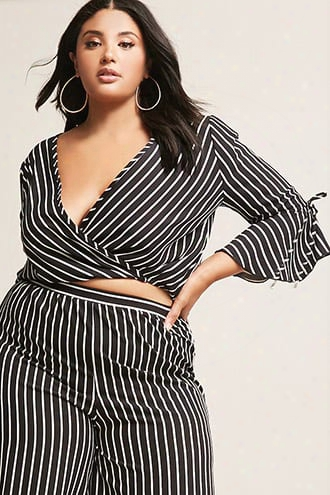 Plus Size Stripe Surplice Bell-sleeve Top