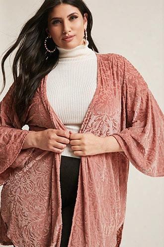 Plus Size Velvet Burnout Kimono