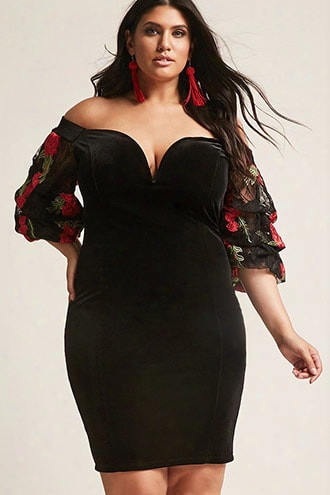 Plus Size Velvet Off-the-shoulder Floral-sleeve Dress