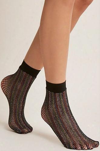 Rainbow Fishnet Ankle Socks