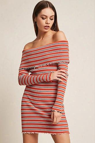 Ribbed Off-the-shoulder Stripe Dress