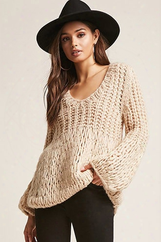 Ribbed Open Knit Bell-sleeve Sweater
