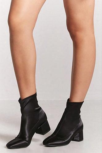 Satin Block-heel Ankle Boots