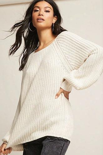Selfie Leslie Ribbed Balloon-sleeve Sweater