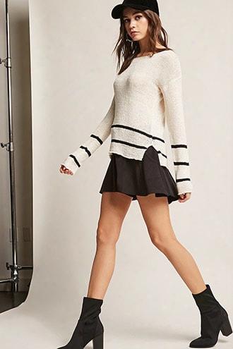 Striped Open-knit Top