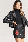 Faux Leather Floral Studded Mini Skirt