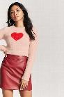 Fuzzy Knit Heart Sweater