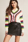 Fuzzy Multicolor Cable Knit Sweater