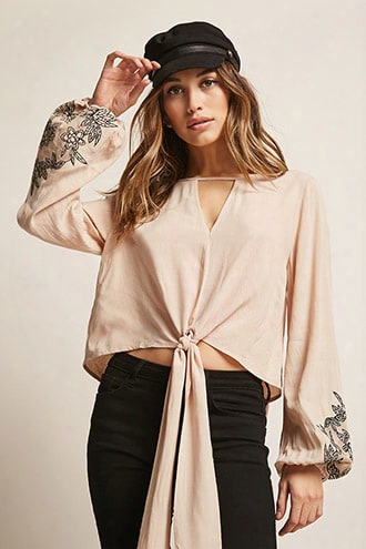 Tie-front Floral Sleeve Top