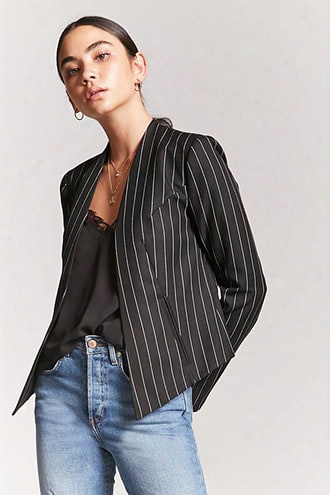 Collarless Pinstripe Blazer