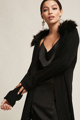 Faux Fur Ribbed Join Cardigan