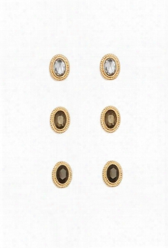 Faux Gemstone Stud Earring Set