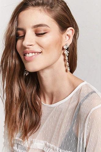 Faux Pearl & Gemstone Drop Earrings