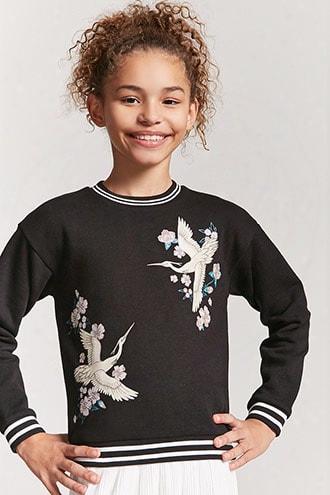 Girls Crane Graphic Sweater(kids)