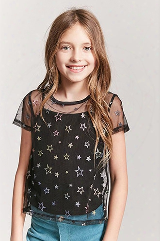 Girls Sheer Mesh Glitter Star Top (kids)