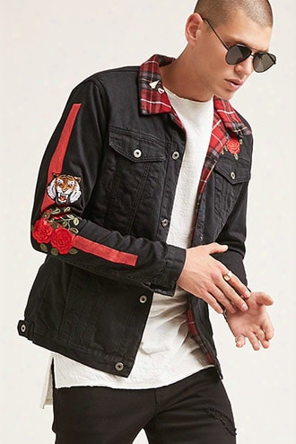 Happiness Embroidered Graphic Denim Jacket