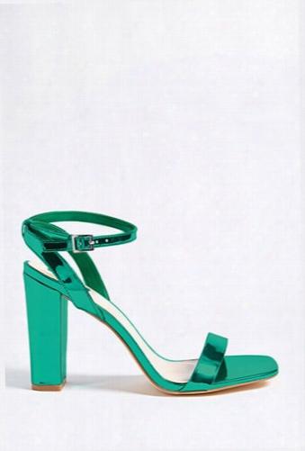 Metallic Open-toe Heels