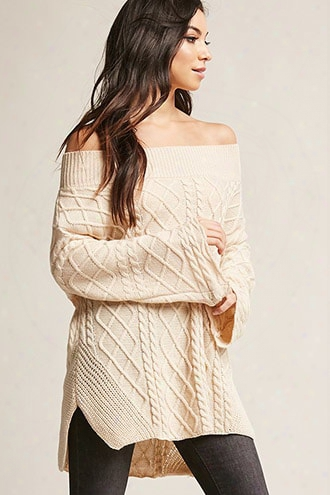Off-the-shoulder Cable Knit Top