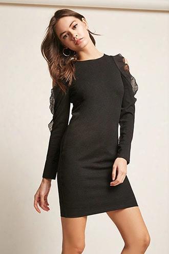 Open-shoulder Ruffle-sleeve Dress