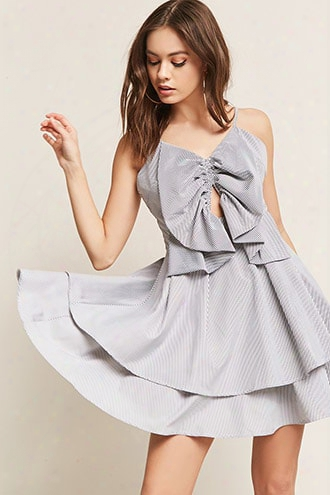 Pinstripe Cutout Tiered Dress