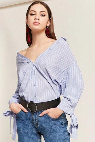 Pinstripe High-low Shirt