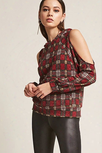 Plaid Open-shoulder Top