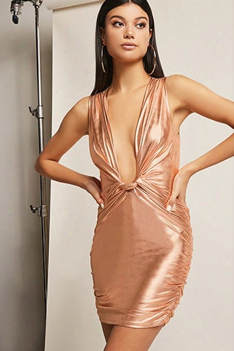 Plunging Metallic Mini Dress