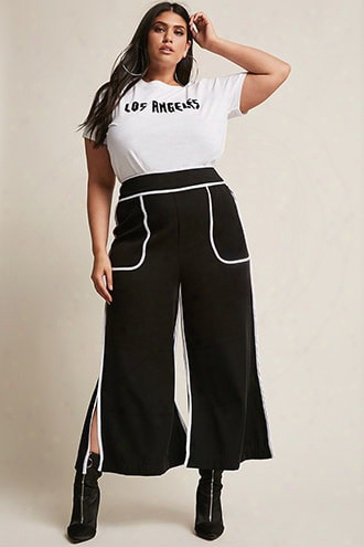 Plus Size Contrast Stripe Wide-leg Pants