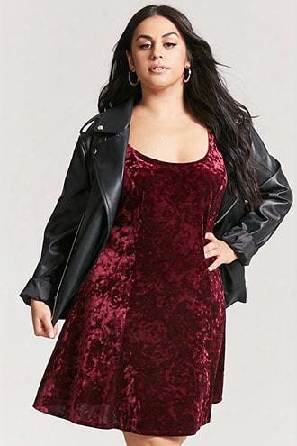 Plus Size Crushed Velvet Mini Dress