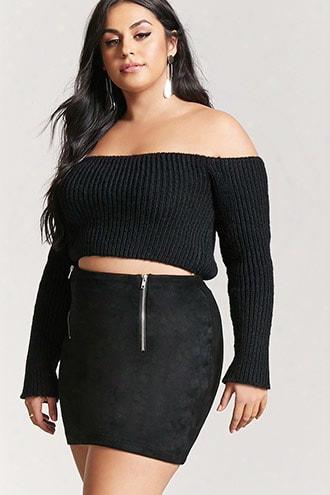 Plus Size Faux Suede Mini Skirt