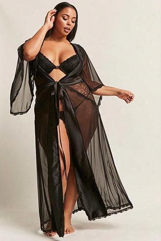 Plus Size Oh La La Cheri Sheer Satin-trim Robe