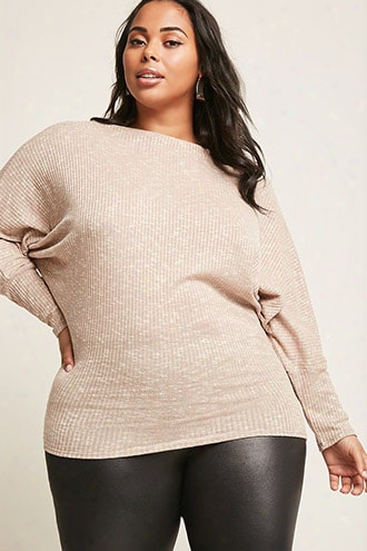 Plus Size Ribbed One-shoulder Top