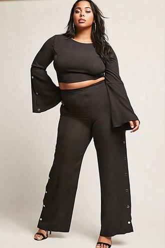 Plus Size Snap-button Crop Top & Pants Set