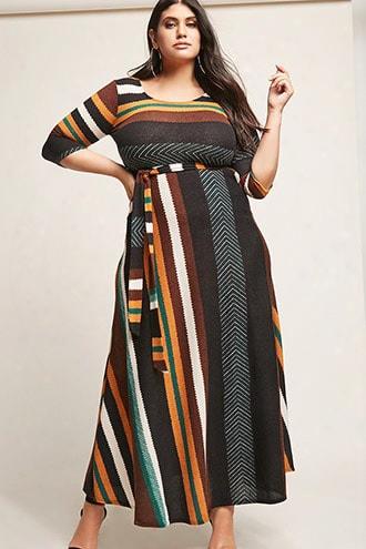 Plus Size Stripe & Chev Ron Knit Maxi Dress