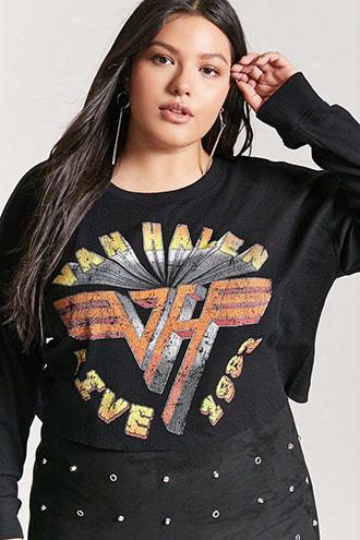 Plus Size Van Halen Graphic Crop Top