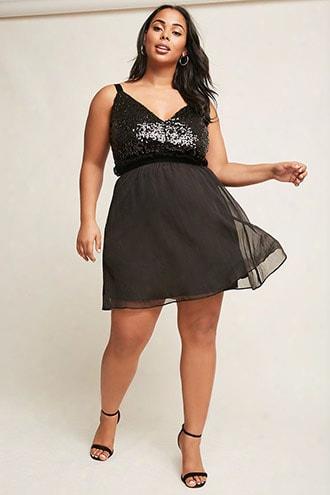 Plus Size Velvet Sequin Dress