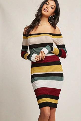 Ribbed Multistripe Colorblock Dress