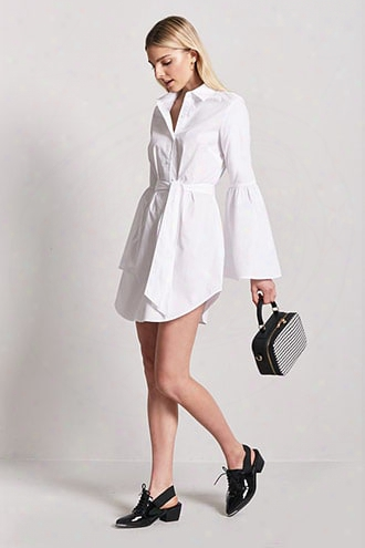 Self-tie Button-front Shirt Dress