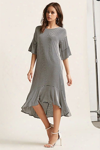 Stripe Ruffle-trim Dress