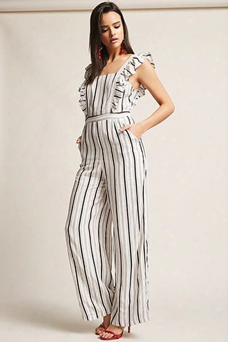 Stripe Ruffle-trim Jumpsuit