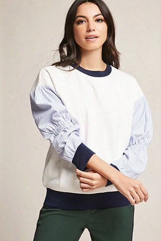 Stripe-sleeve French Terry Top