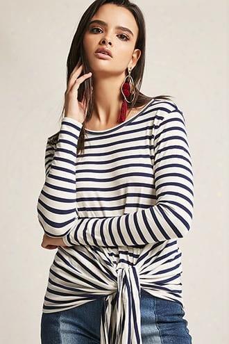 Stripe Tie-front Knit Top